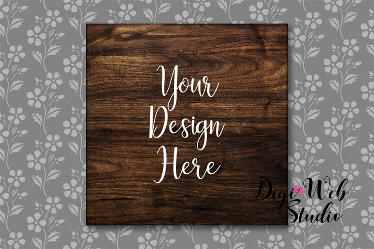 Wood Sign Mockup - Square Wood Sign on Flower Wallpaper example image 1