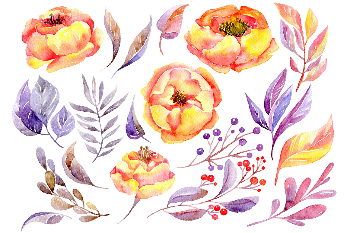 Watercolor yellow & violet flowers example image 2