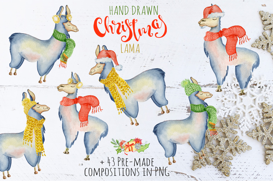 Christmas lama watercolor creator 2 example image 3
