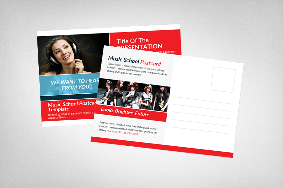 Music School Postcard Template example image 2