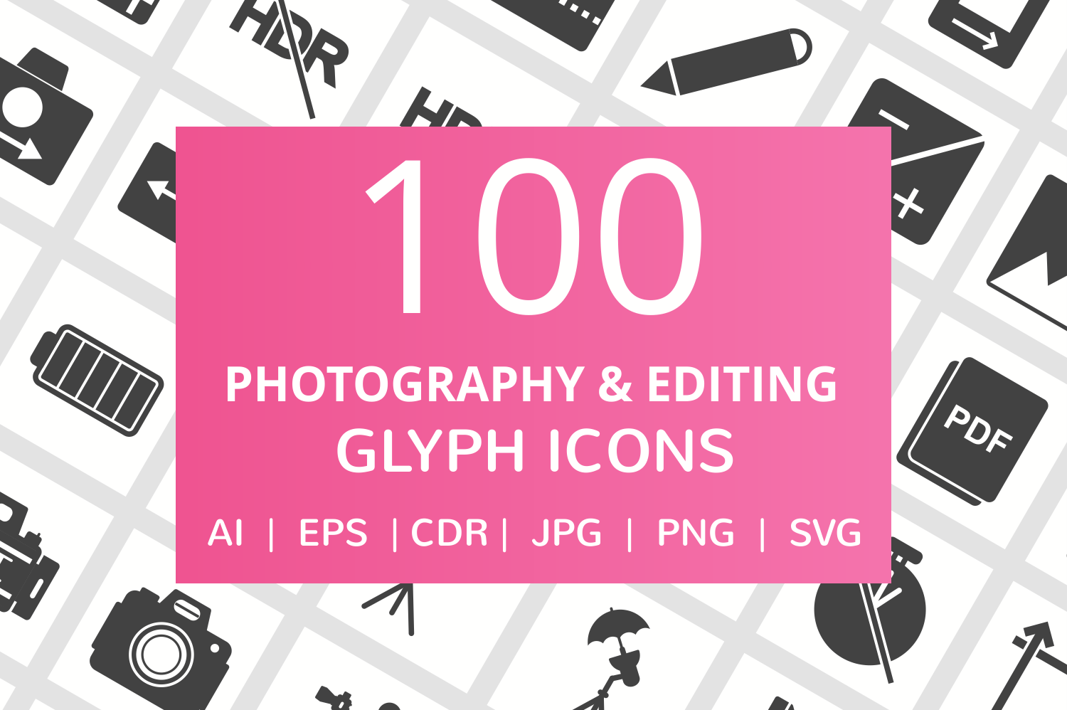 100 Photography & Picture Glyph Icons example image 1