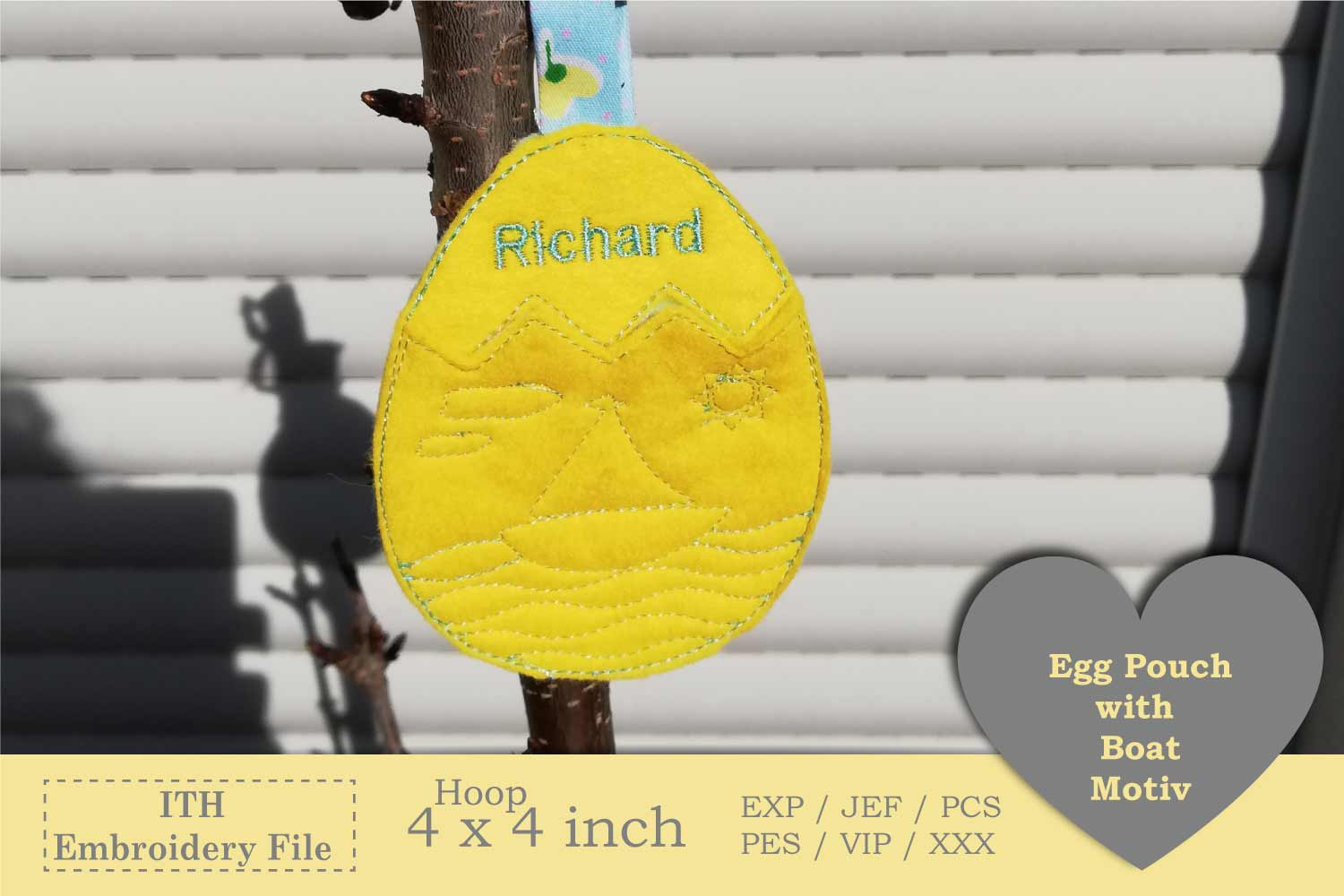 ITH - Egg Pouch with Sailboat Motive example image 3
