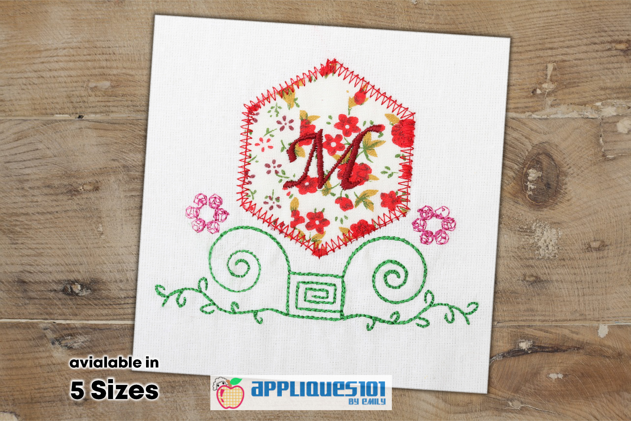 Flower Frame Machine Embroidery Applique Design - Flowers example image 1