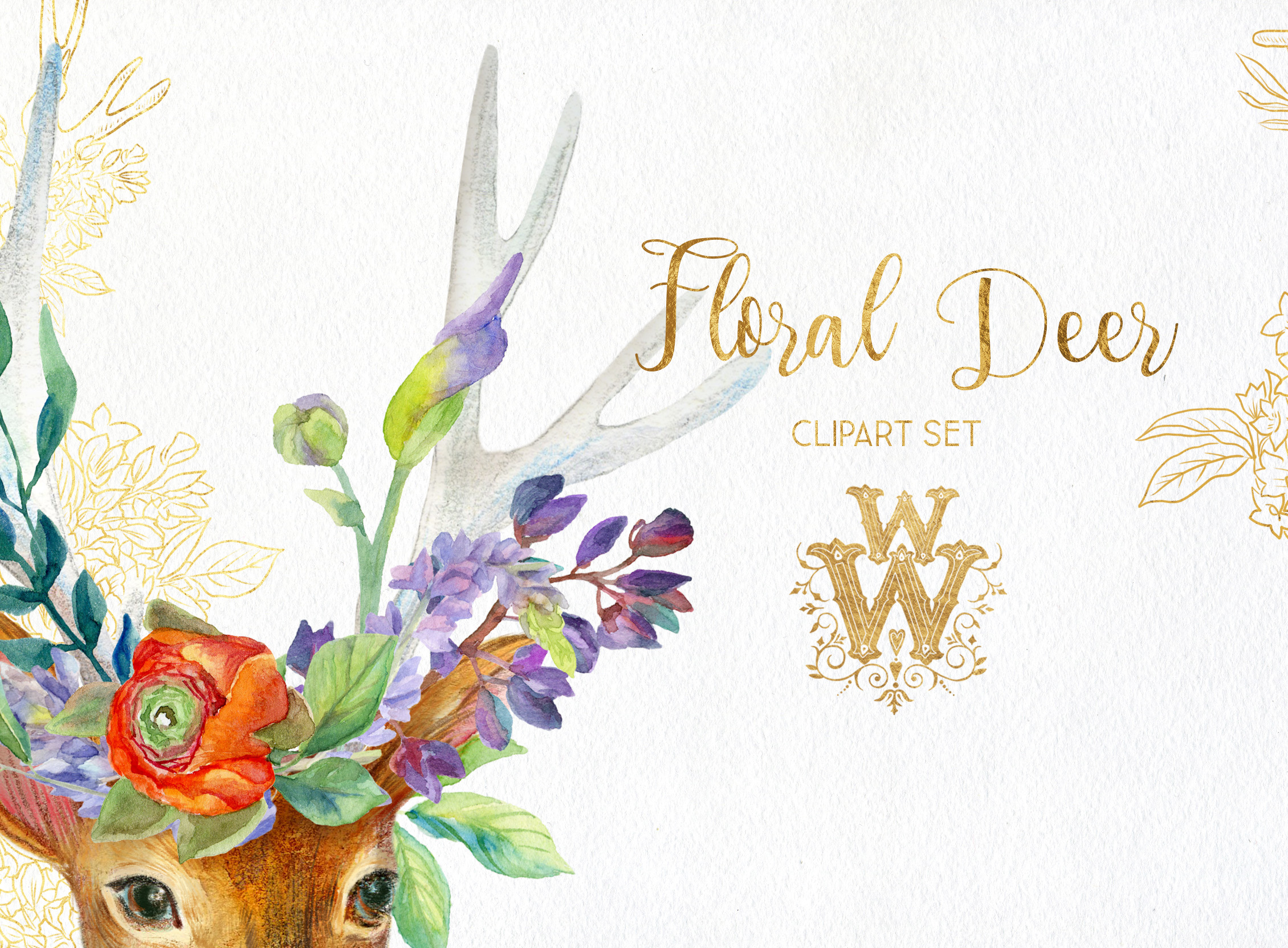 Watercolor floral deer printable clipart, golden graphics example image 3