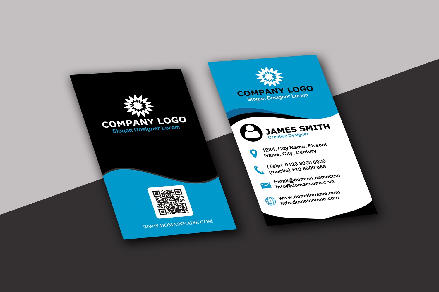 Vertical Modern Business Card example image 1