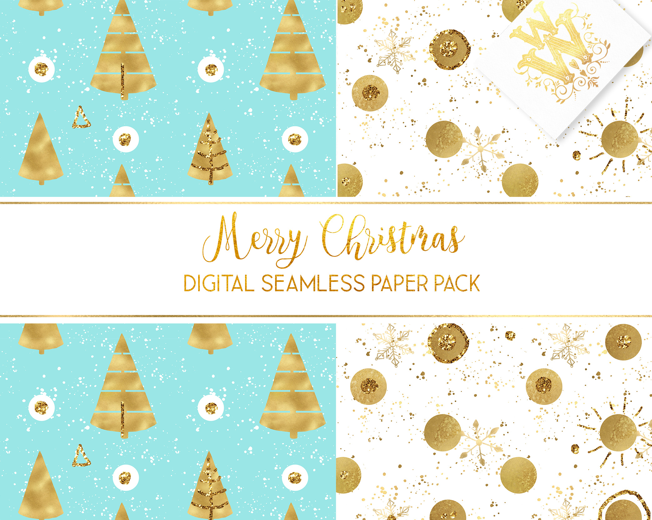 Christmas digital paper pack, seamless pattern snowflake example image 2