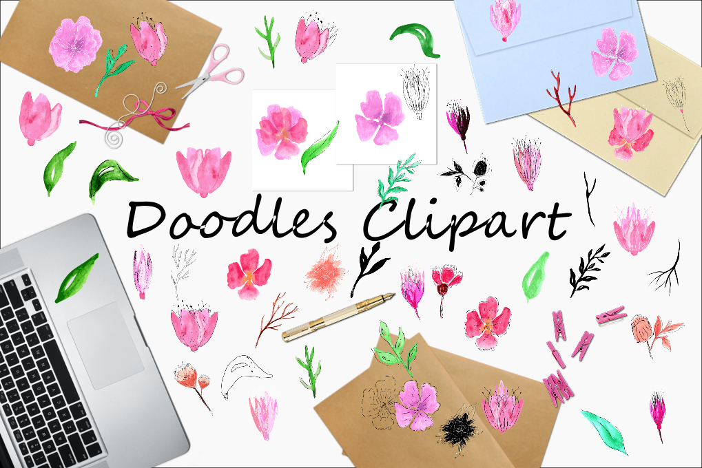 Watercolor Floral Cliparts example image 3