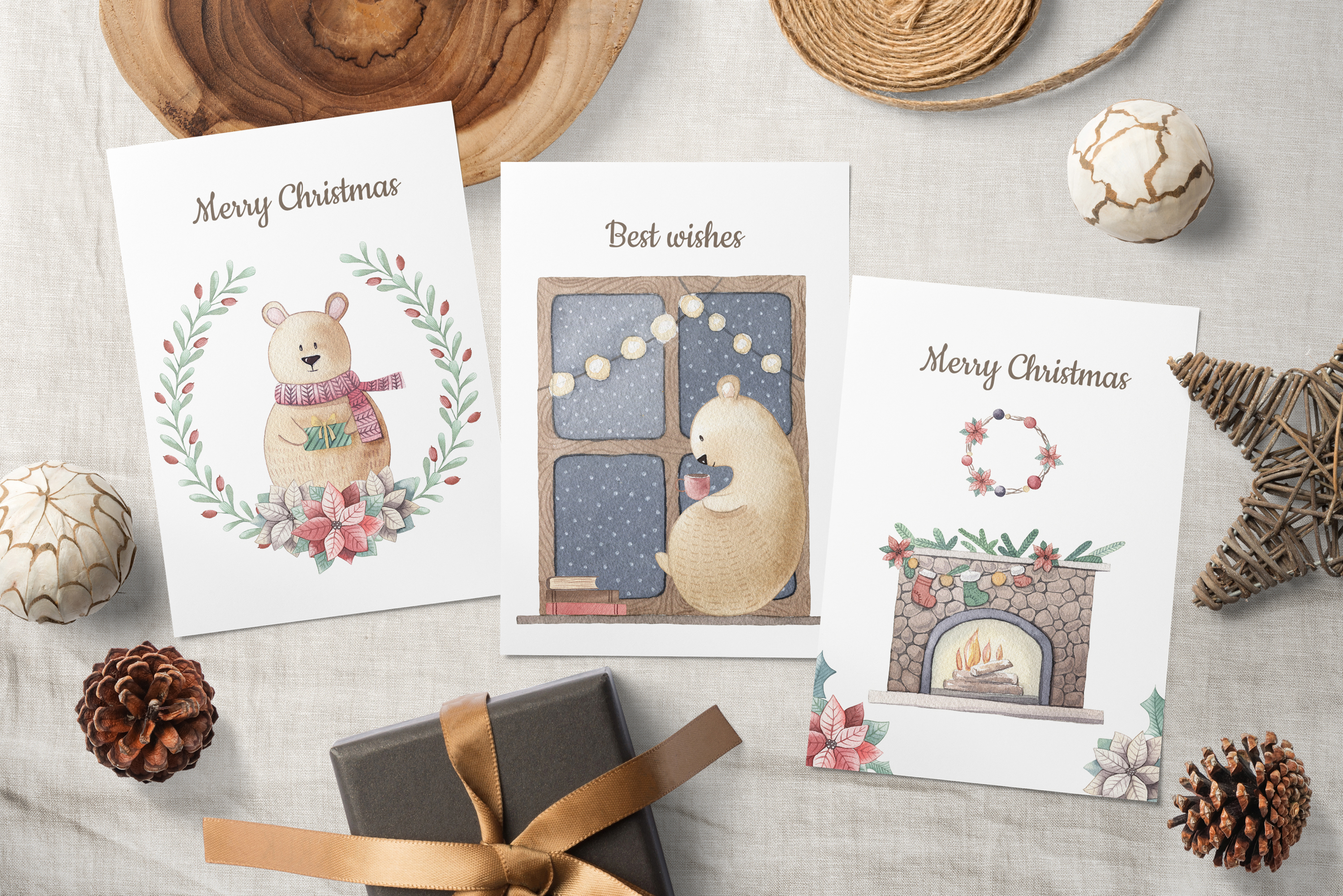 One Bear Christmas Story-Watercolor set example image 2