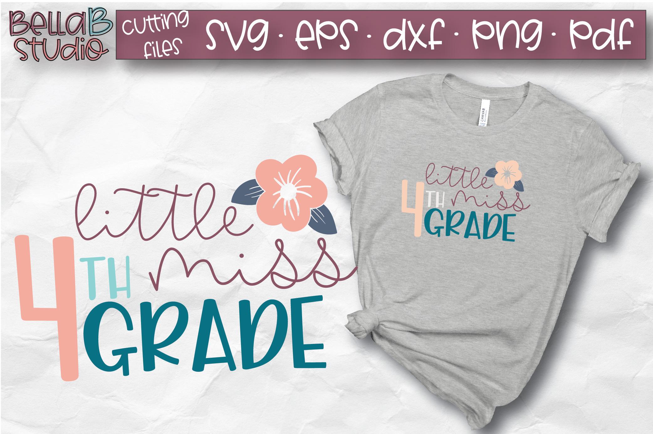 Little Miss 4th Grade SVG, Fourth Grade, School SVG, Grade 4 example image 1