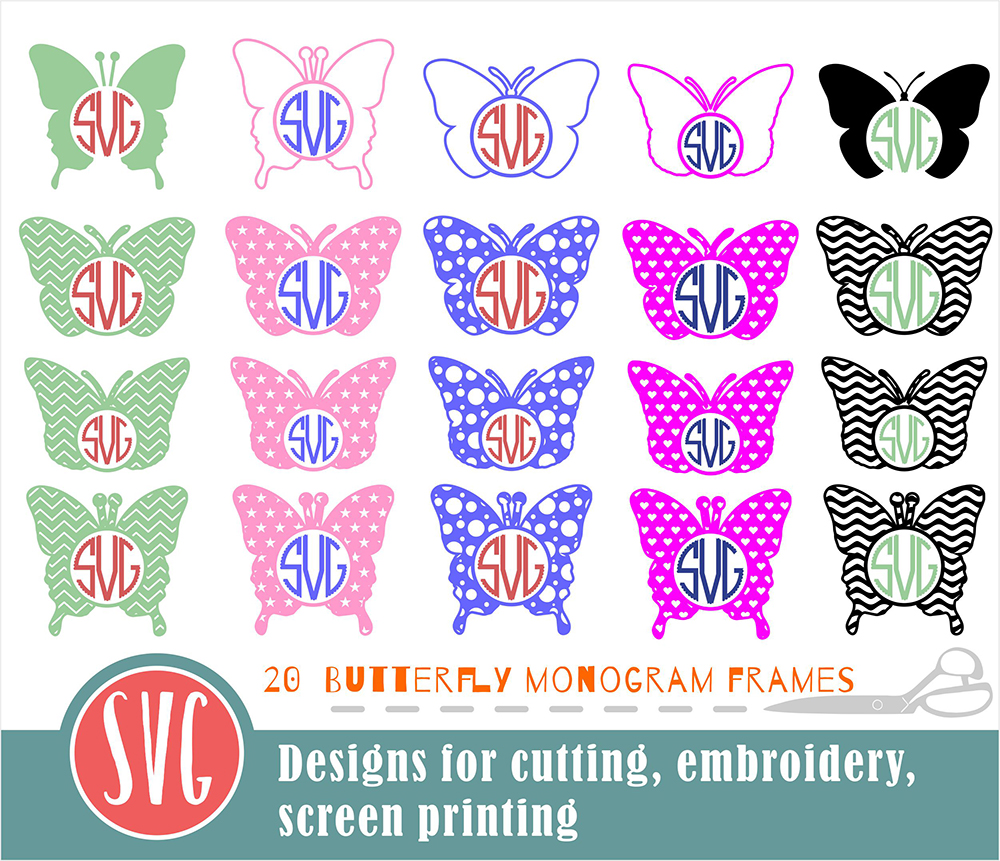 20 Butterfly Monograms Bundle SVG, DXF, JPG, PNG, DWG, AI, EPS example image 2