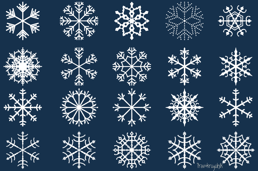 Winter snowflakes clipart set - black and white colors example image 1