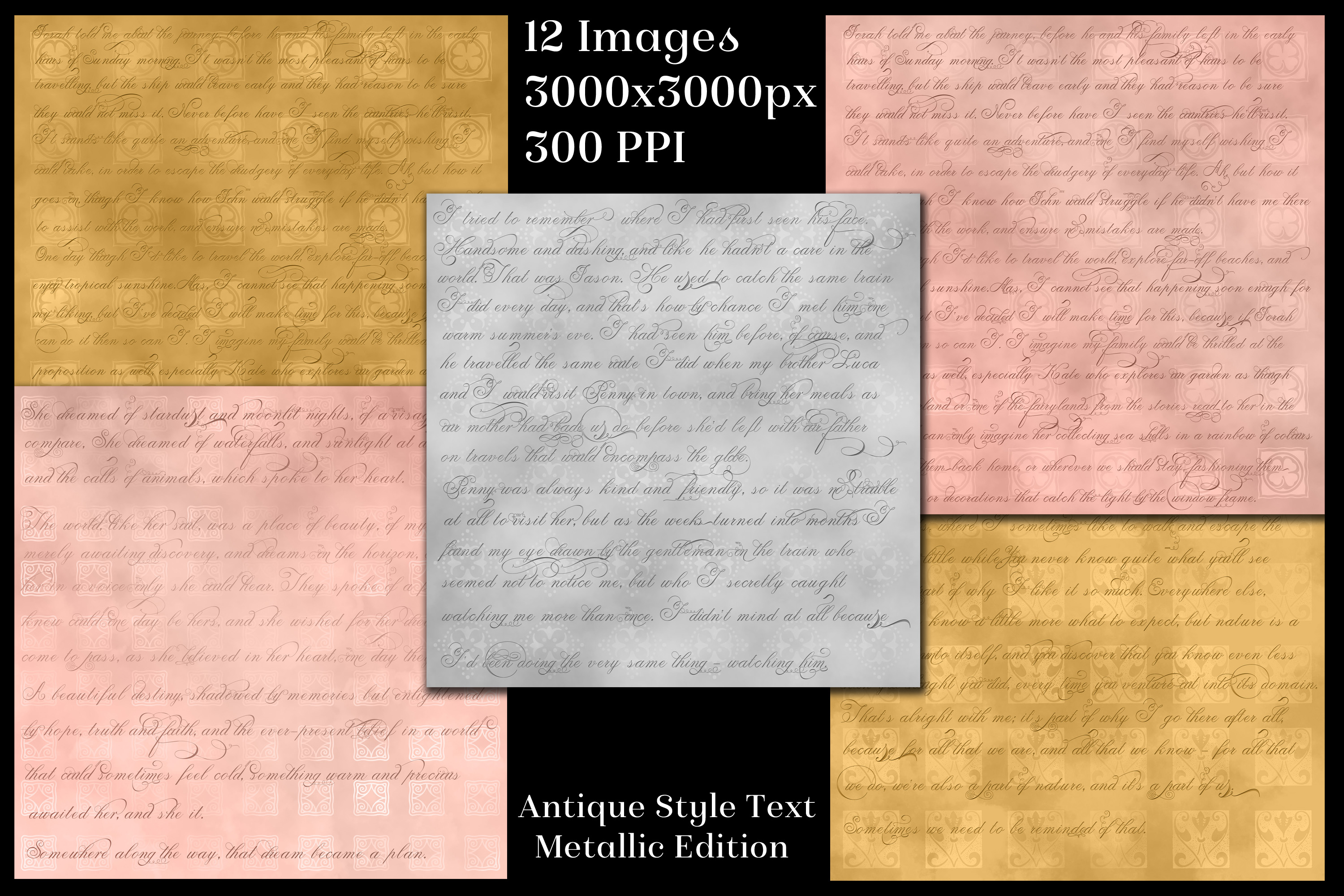 Antique Style Text Backgrounds Metallic Edition - 12 Images example image 2