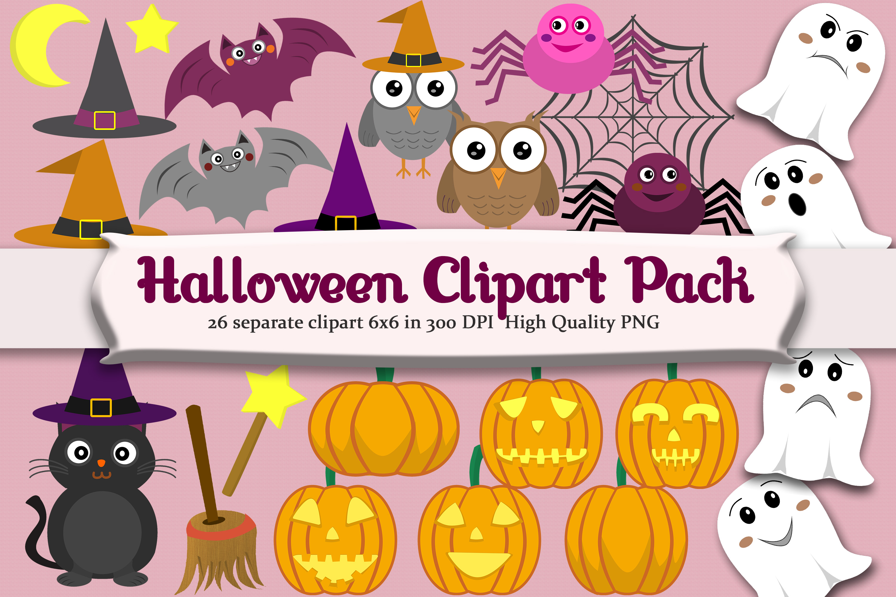 Halloween Clipart set with 26 png example image 1