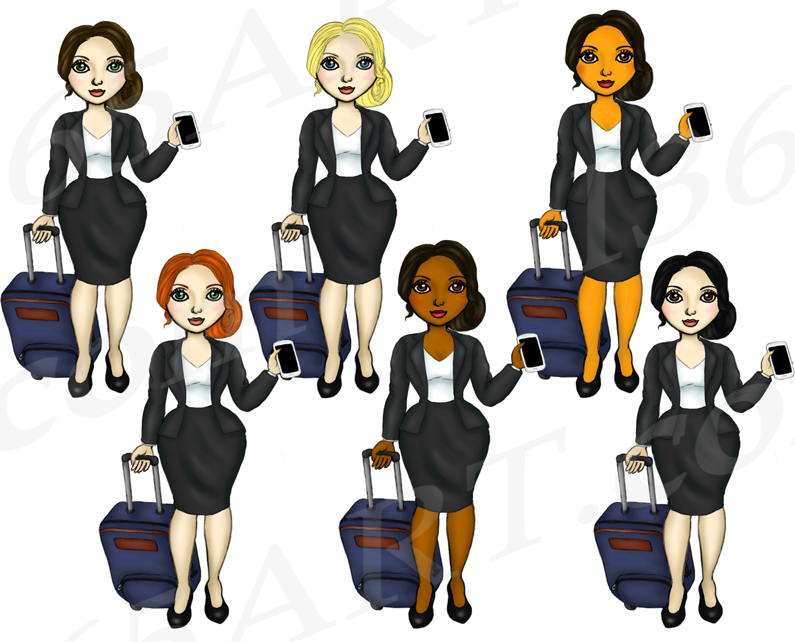 Business Travel Clipart Girls, Fashion Doll Illustrations example image 2