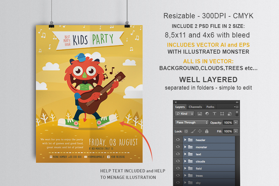 Party Kid Illustrated Flyer Template example image 2