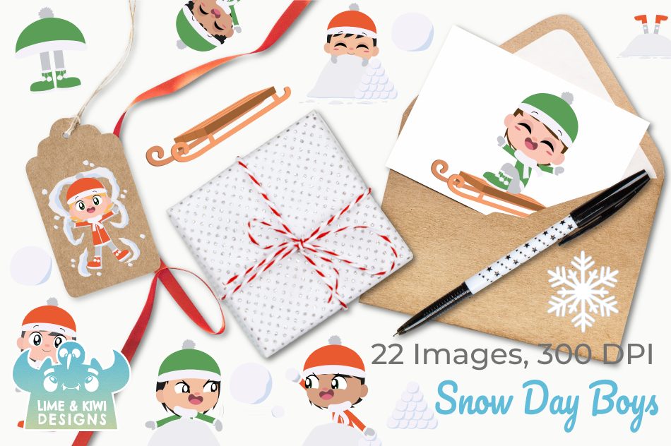 Snow Day Boys Clipart, Instant Download Vector Art example image 4