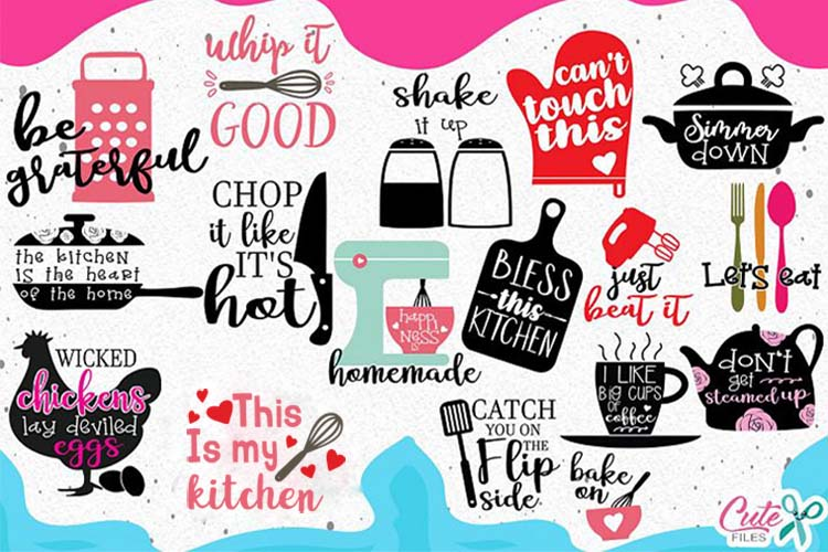 Kitchen bundle, my kitchen my rules svg cut files example image 1