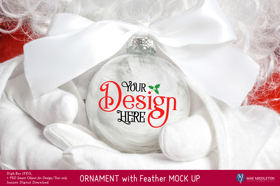Christmas Mock up - Ornament with Feathers example image 1