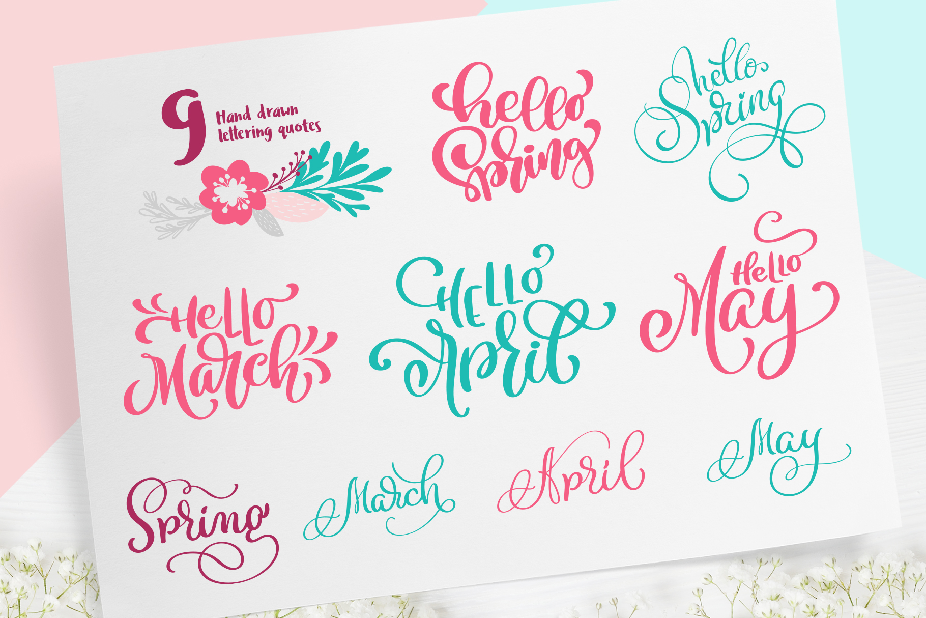 Spring vector lettering & floral greeting card example image 7