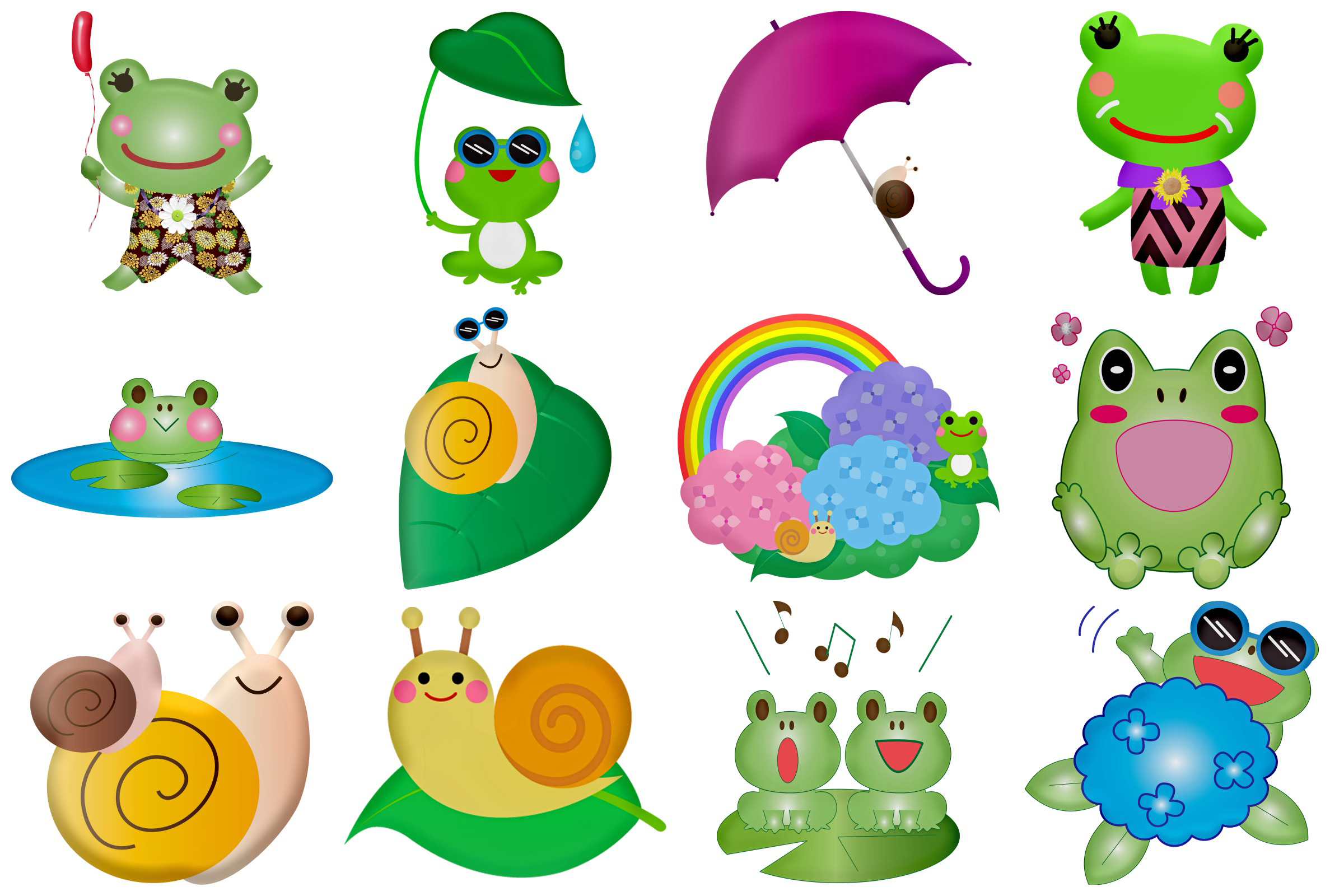 Kawaii Frogs & Friends Cute Clip Art example image 3