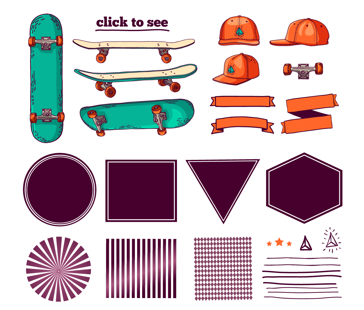 Set of colored skateboard badges example image 4