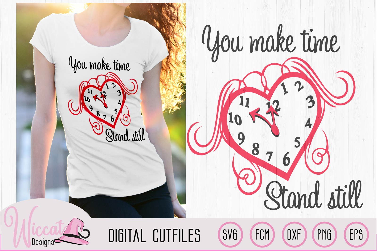 Valentine Clock Heart svg, Love quote svg, example image 2