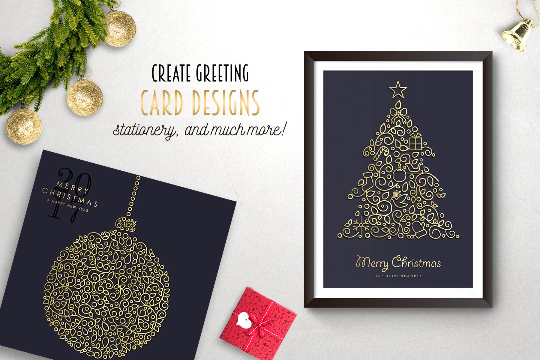 Christmas Gold Line Art Set example image 2