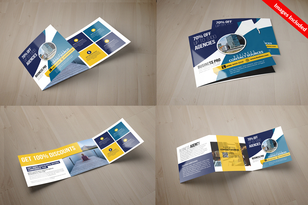 25 Square Trifold Business Brochures Bundle example image 21