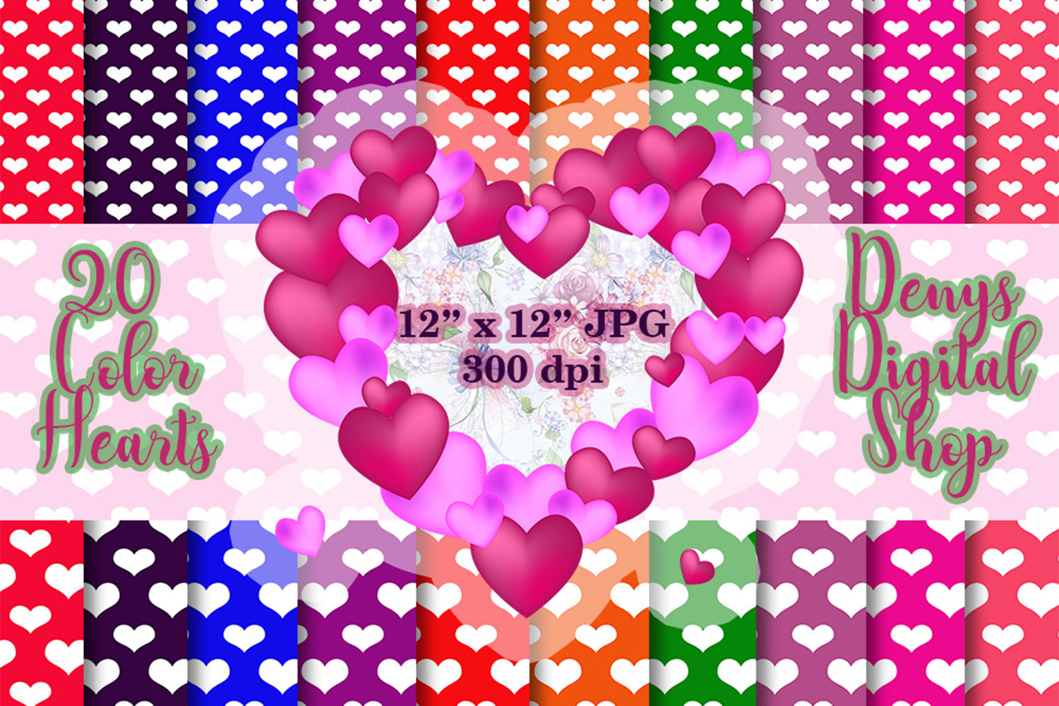 20 Color Heart Papers,Heart Background,Heart Wallpaper, SALE example image 1