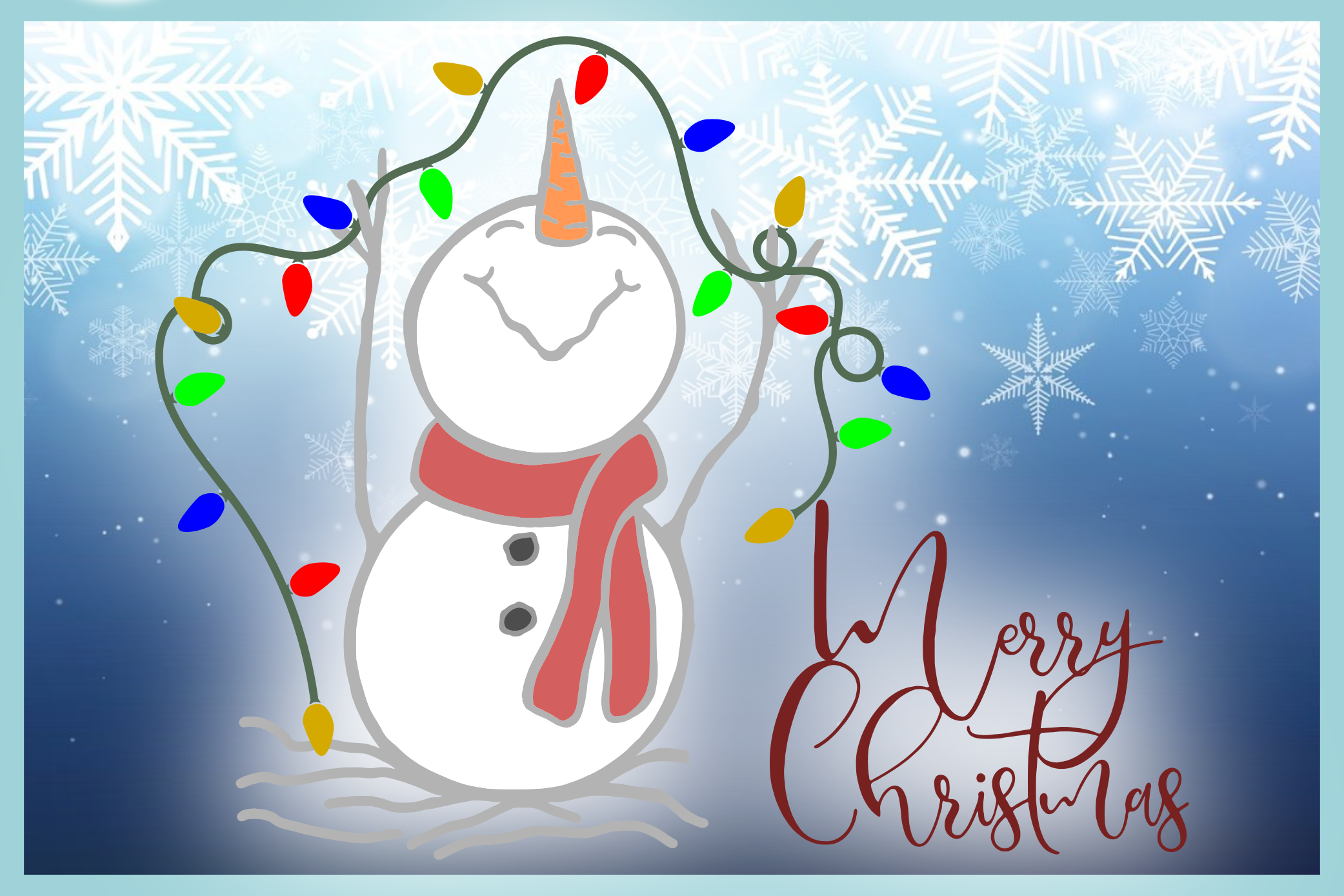 Happy Snowman with Lights Merry Christmas SVG example image 3