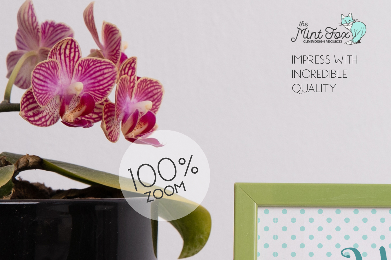 Frame Mockup with Orchid and Elephants | JPG & PSD Mock Up example image 3