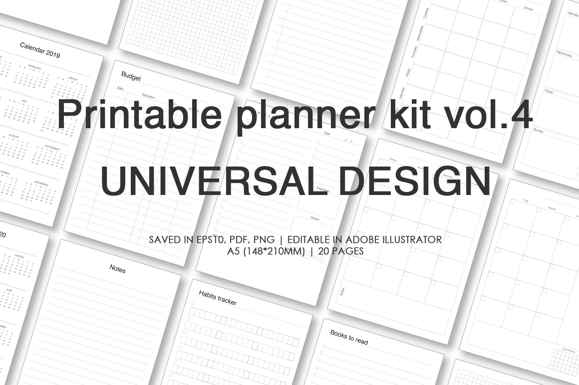 Planner kit vol.4. Universal design example image 1