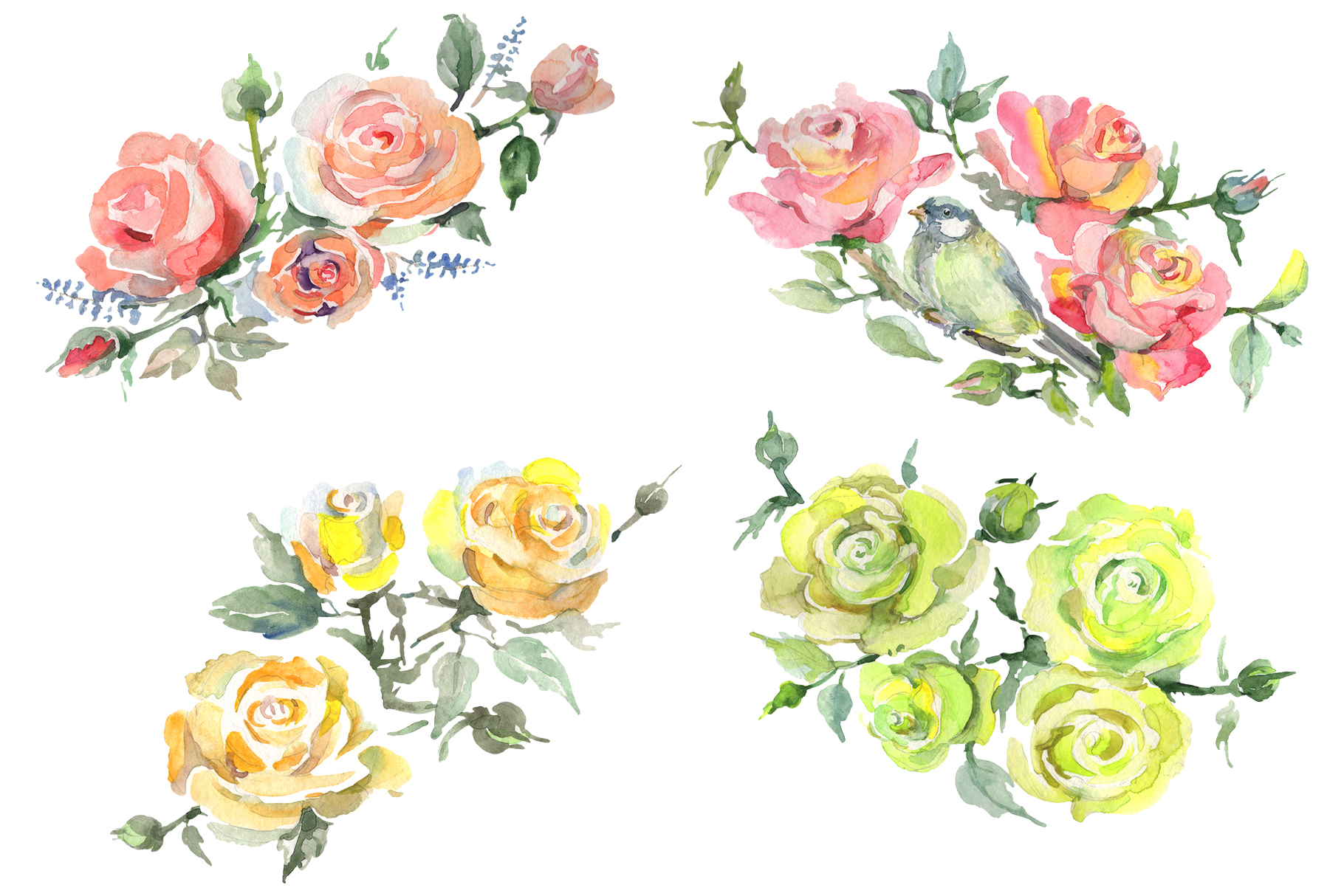 Bouquet with roses romance watercolor png example image 1