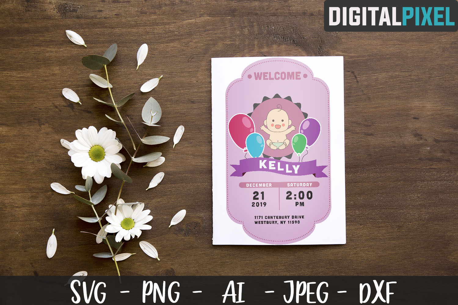 Baby Shower SVG PNG JPEG DXF Crafters SVG - Baby Birth example image 1