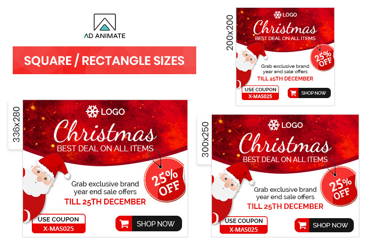 Christmas Sale Animated Ad Banner Template example image 2