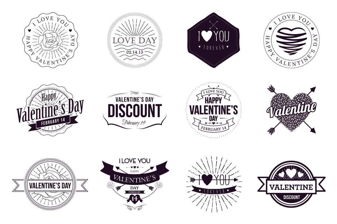 Badges Valentine Vintage example image 4