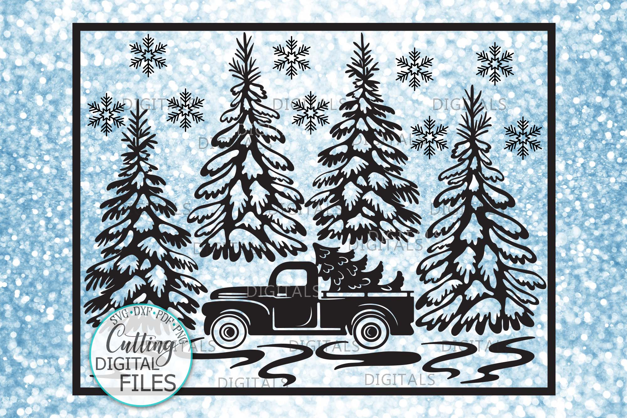 Christmas Truck with Trees Winter scene sign svg pdf design example image 1