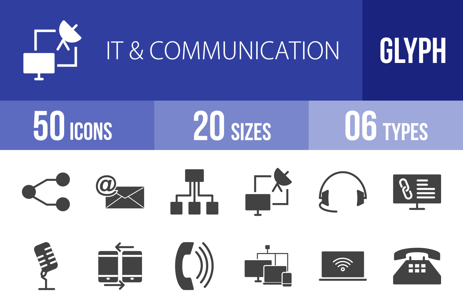 50 IT & Communication Glyph Icons example image 1