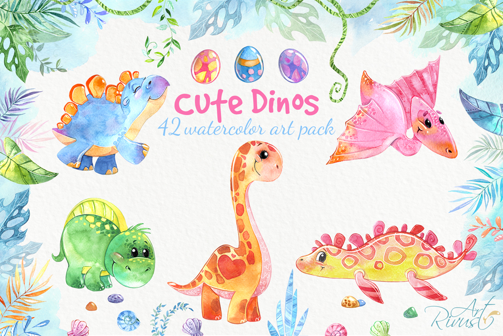 Dinosaurs, cute dino's baby watercolor clipart pack example image 1
