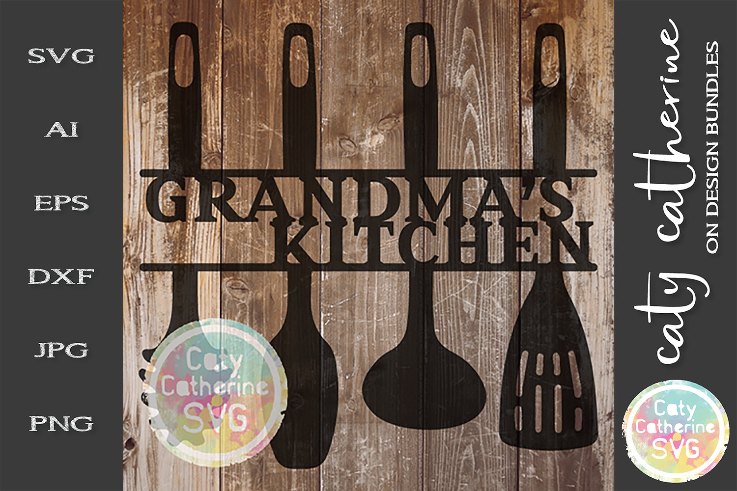 Grandma's Kitchen Sign SVG Cut File Kitchen Utensils example image 1