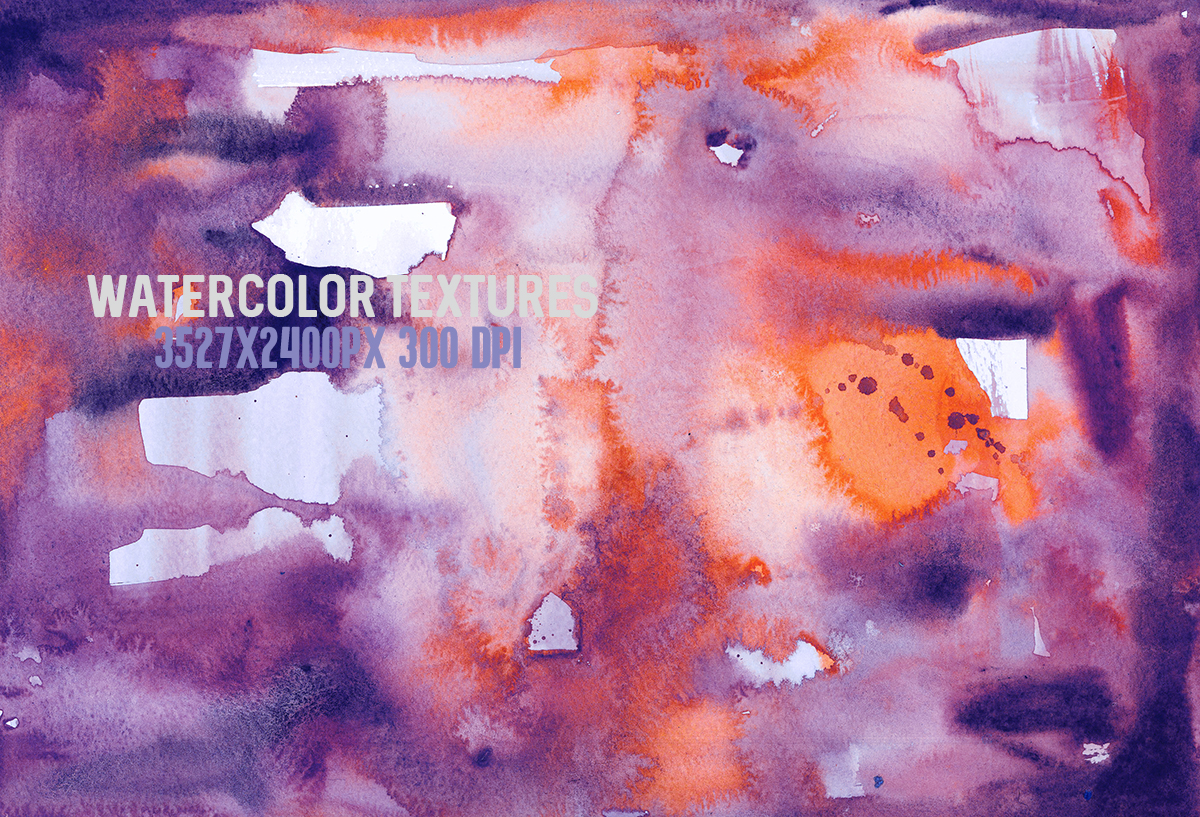 8 Purple watercolor textures, HQ 3527x2400px 300 DPI JPG example image 4