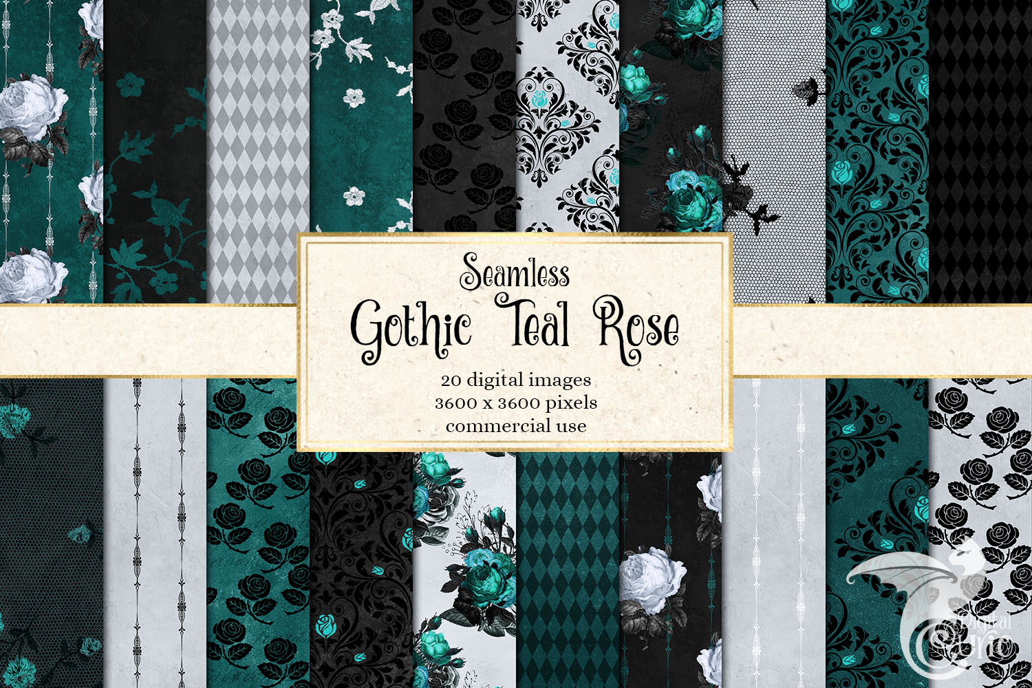 Gothic Teal Rose Digital Paper example image 1