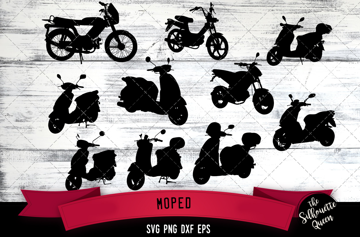 Moped svg file, scooter svg cut file, silhouette studio example image 1