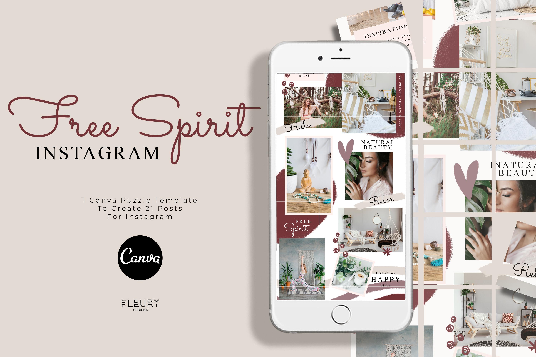 Instagram Puzzle Canva Template - Free Spirit example image 1