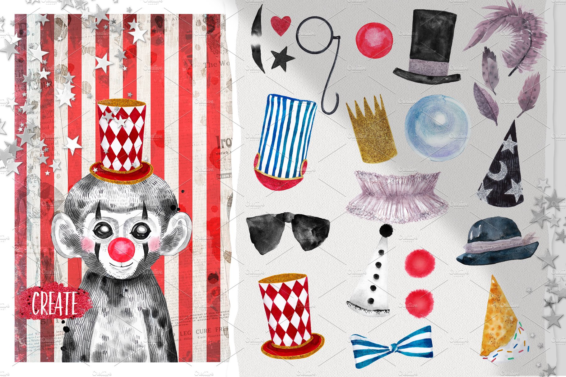 CIRCUS BABIES watercolor set example image 5
