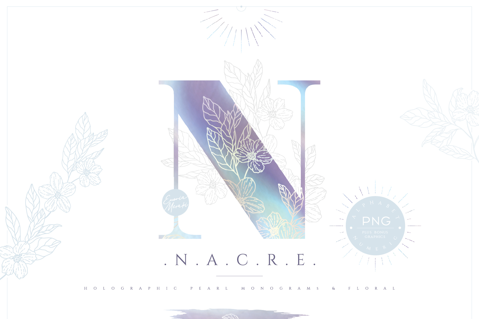 NACRE - monogram and floral graphic set example image 1