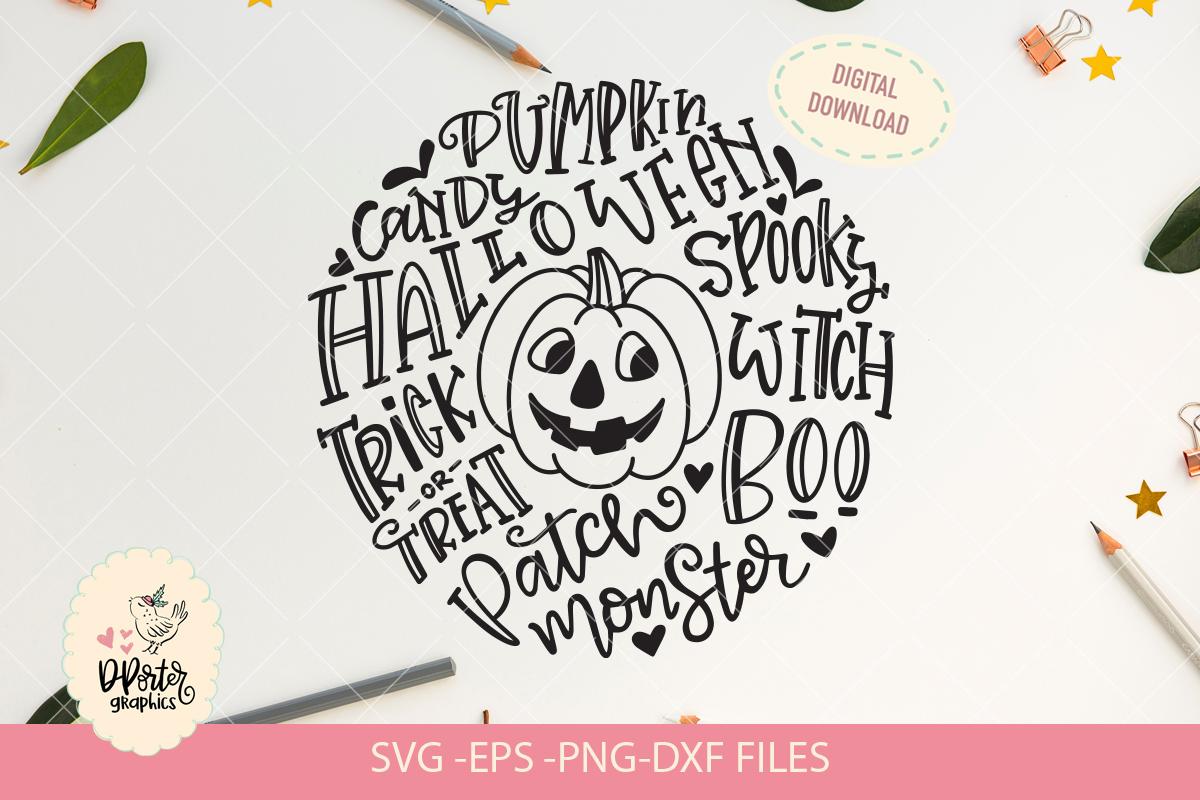 Halloween pumpkin typography svg, trick or treat svg example image 2