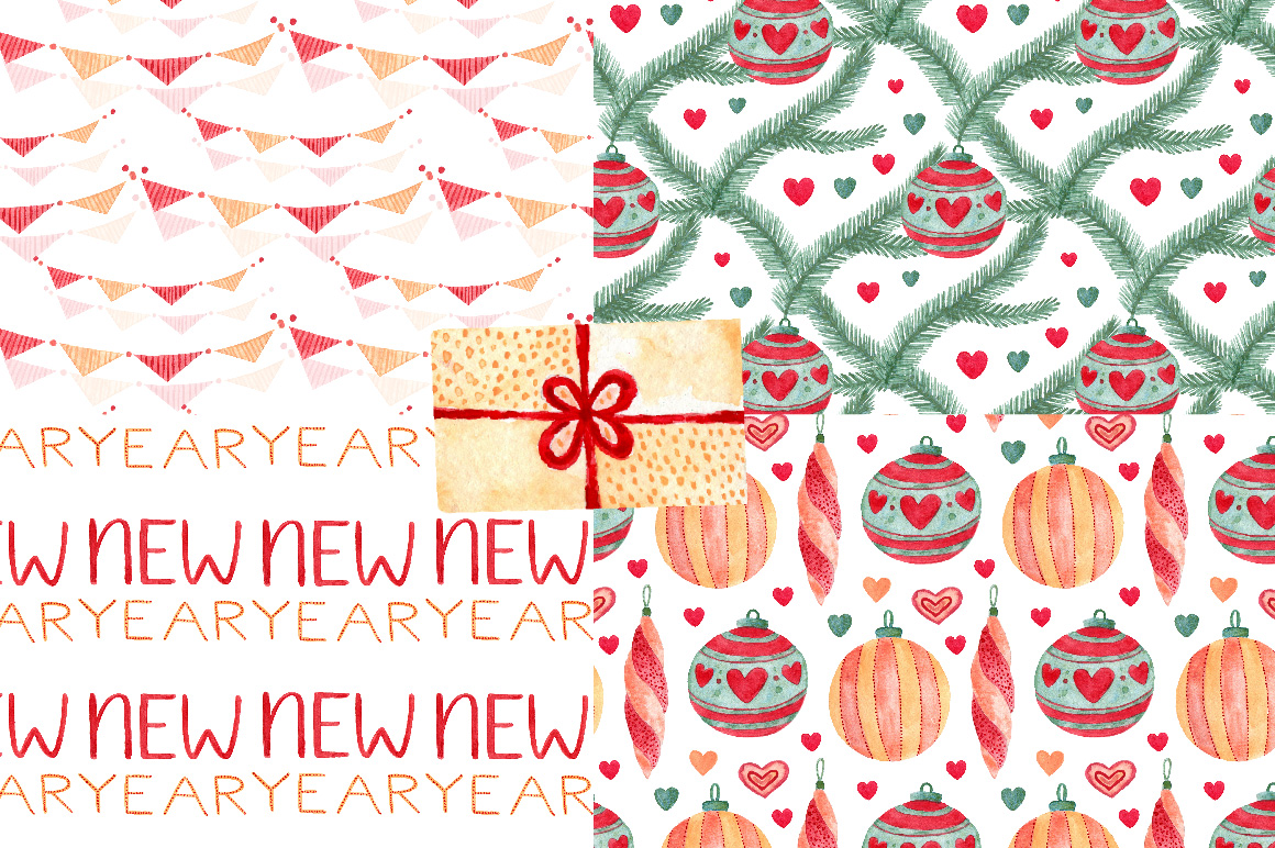 Christmas Watercolor art & patterns example image 8