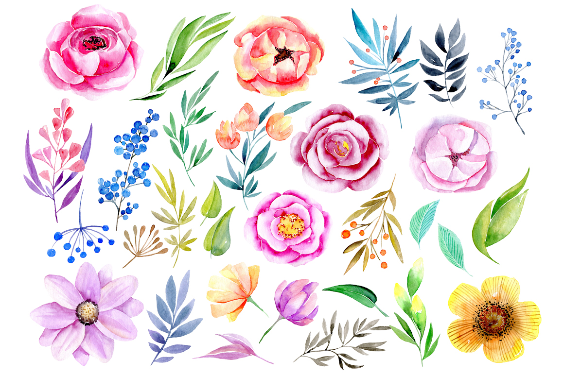 Watercolor flowers, leaves, branches example image 2