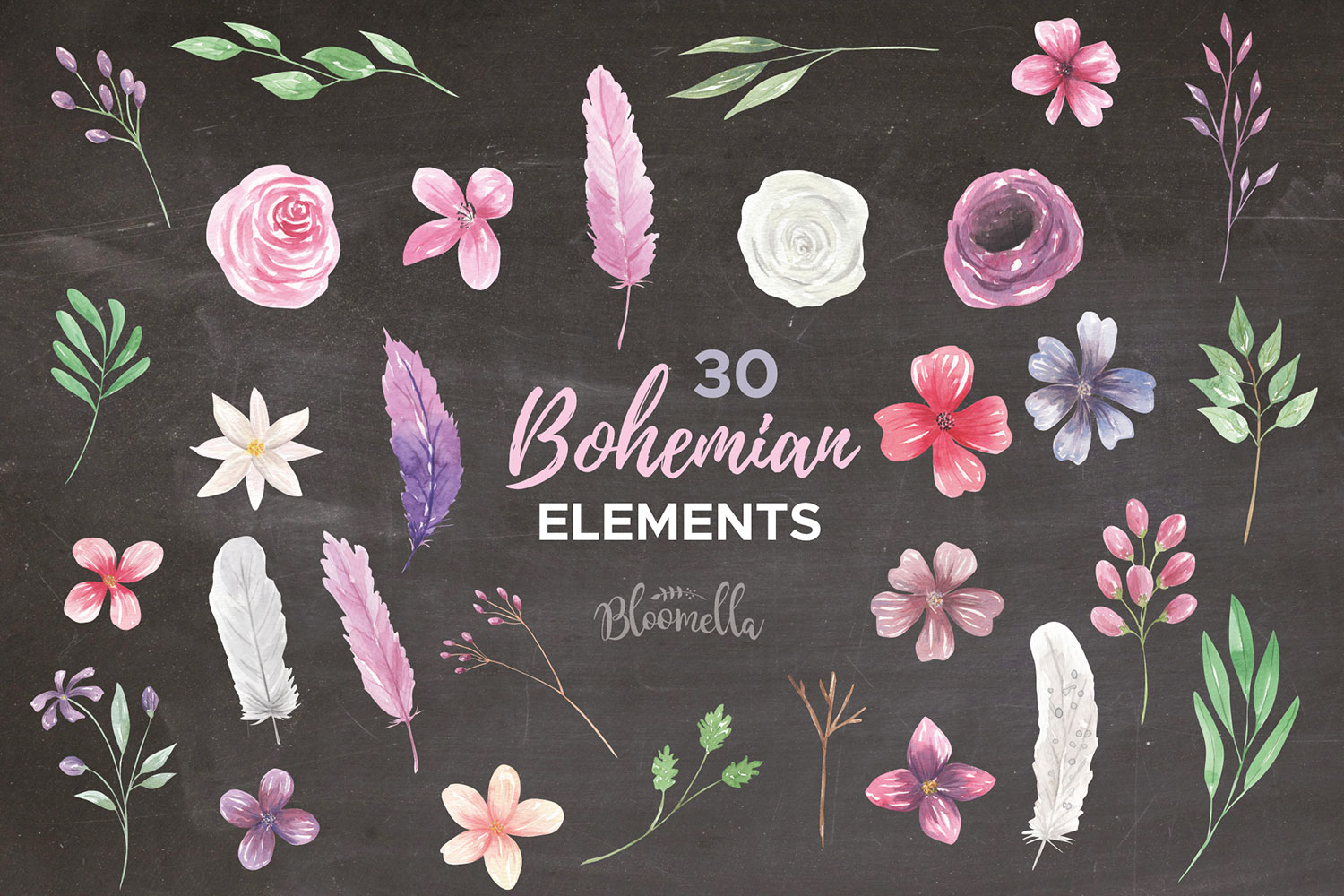 Bohemian Floral Watercolor HUGE Package Wedding Clipart example image 2